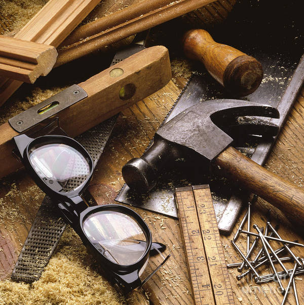 Carpenters Tools Print featuring the photograph Tools by Tony Cordoza
