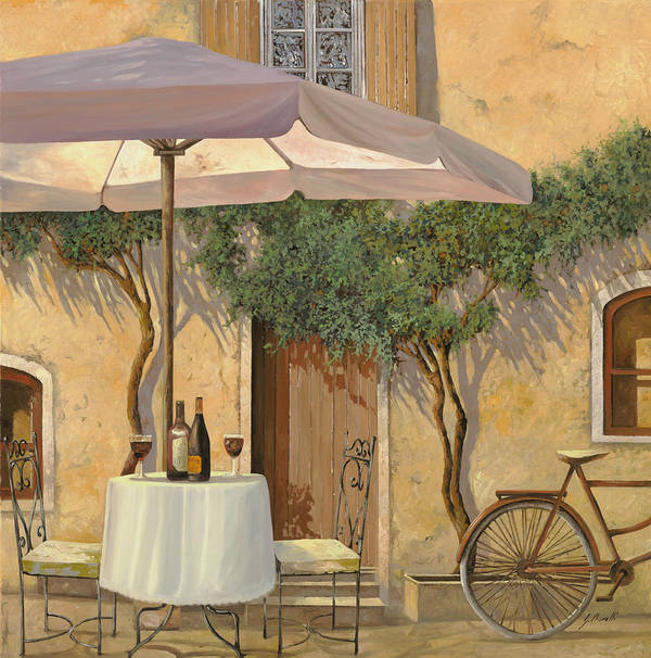 Courtyard Art Print featuring the painting Un Ombra In Cortile by Guido Borelli