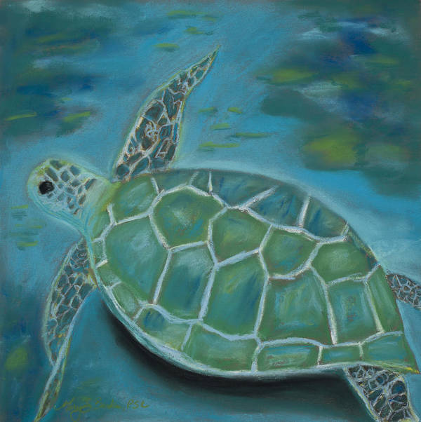 Turtle Art Print featuring the painting Under The Sea by Mary Benke