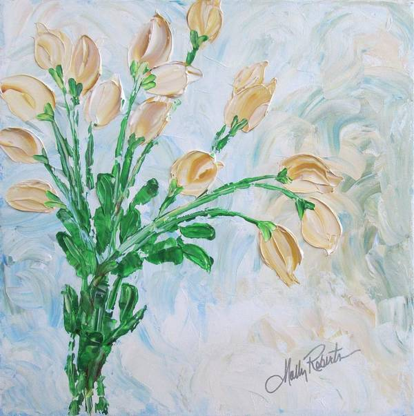 Flowers Print featuring the painting Yellow Roses by Molly Roberts