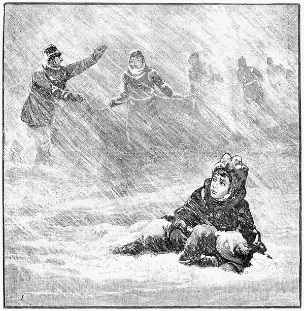 1888 Print featuring the photograph Dakota Blizzard, 1888 by Granger