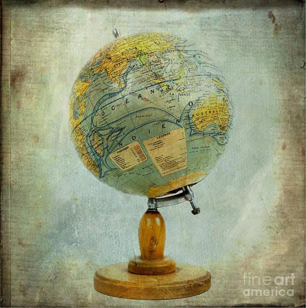 Texture Art Print featuring the photograph Old Globe by Bernard Jaubert