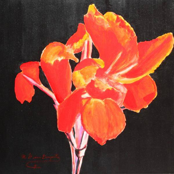 Garden Art Print featuring the painting Red Canna by M Diane Bonaparte