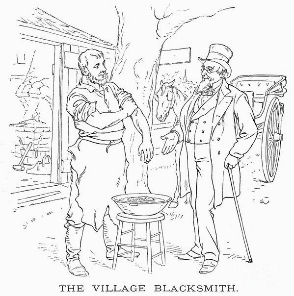 1887 Art Print featuring the photograph The Village Blacksmith by Granger