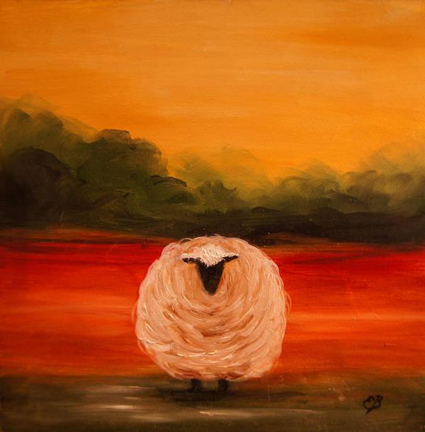 Sheep Art Print featuring the painting Sheep by Elizabeth Barrett