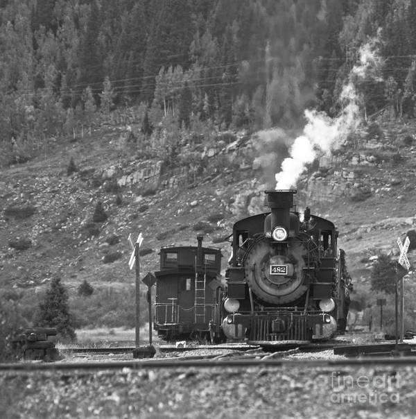 Drgw Art Print featuring the photograph 482 In Silverton - Bw by Tim Mulina