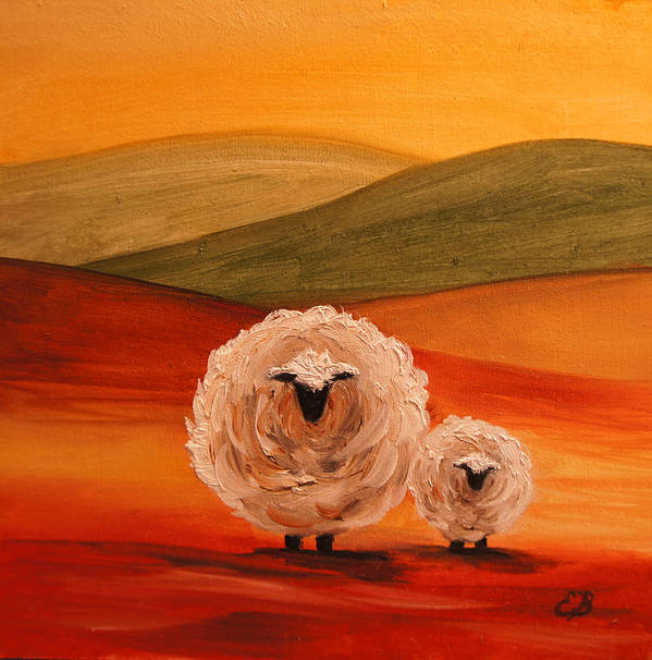 Sheep Art Print featuring the painting Sheep by Elizabeth Barrett