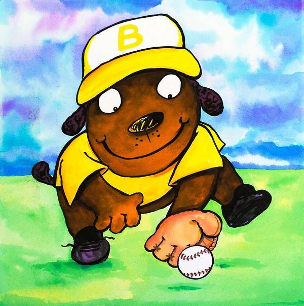 Dog Print featuring the painting Baseball Dog 3 by Scott Nelson