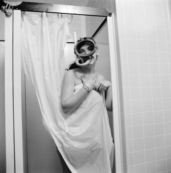 Mid Adult Art Print featuring the photograph Bathroom Diving by Sherman