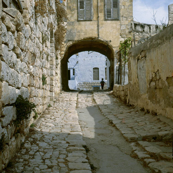 Safed Art Print featuring the photograph Cobbled Street In Safed by Daniel Blatt