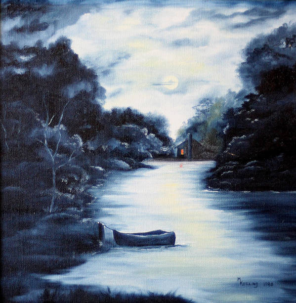 Oil Art Print featuring the painting Evening by Meg Keeling
