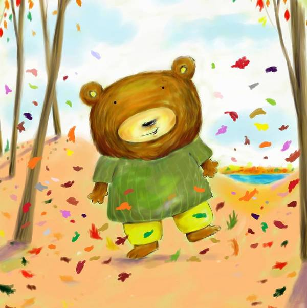 Bear Art Print featuring the digital art Fall Bear by Scott Nelson