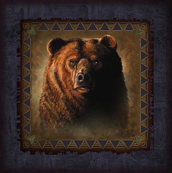 Wildlife Print featuring the painting Grizzly Lodge by JQ Licensing