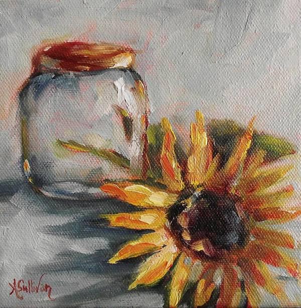 Sunflower Art Print featuring the painting Jar Head by Angela Sullivan