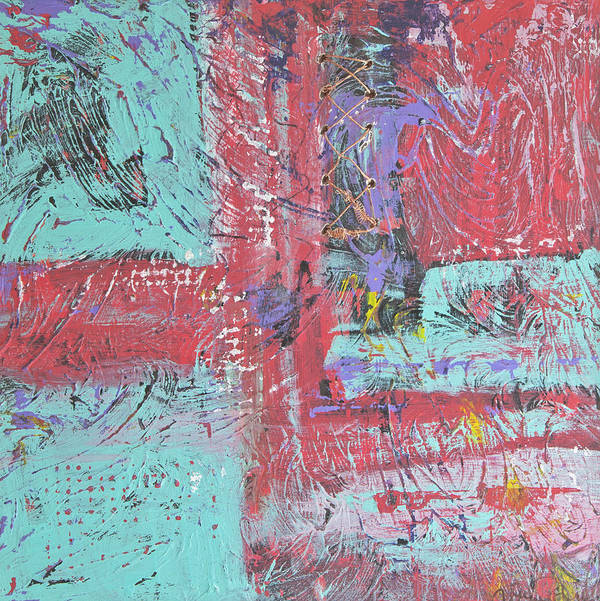 Abstract Art Print featuring the painting Keeping It Together by Wayne Potrafka