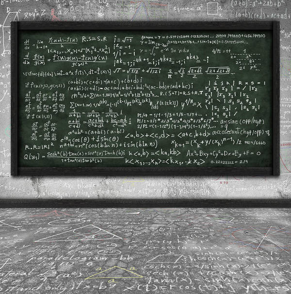 Algebra Art Print featuring the photograph Maths Formula On Chalkboard by Setsiri Silapasuwanchai