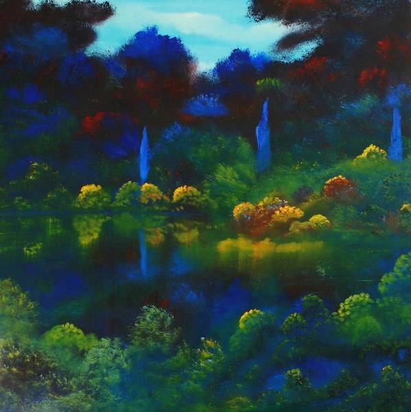 Landscape Art Print featuring the painting Mount Auburn by David Snider