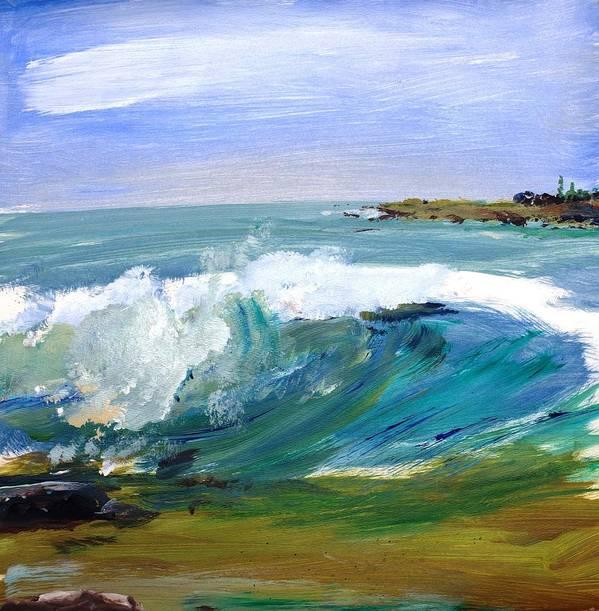 Ogunquit Beach Print featuring the painting Ogunquit Beach Wave by Scott Nelson
