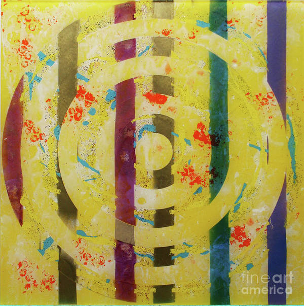 Abstract Art Print featuring the painting Party- Bullseye 1 by Mordecai Colodner