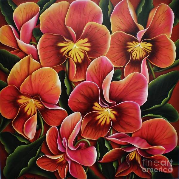 Pansies Art Print featuring the painting Perfect Love by Paula Ludovino
