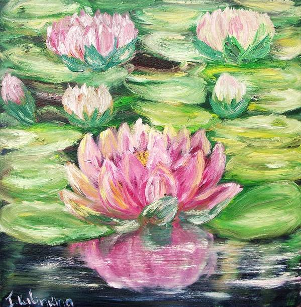 Floral Art Print featuring the painting Pink Waterlilies by Irina Kalinkina