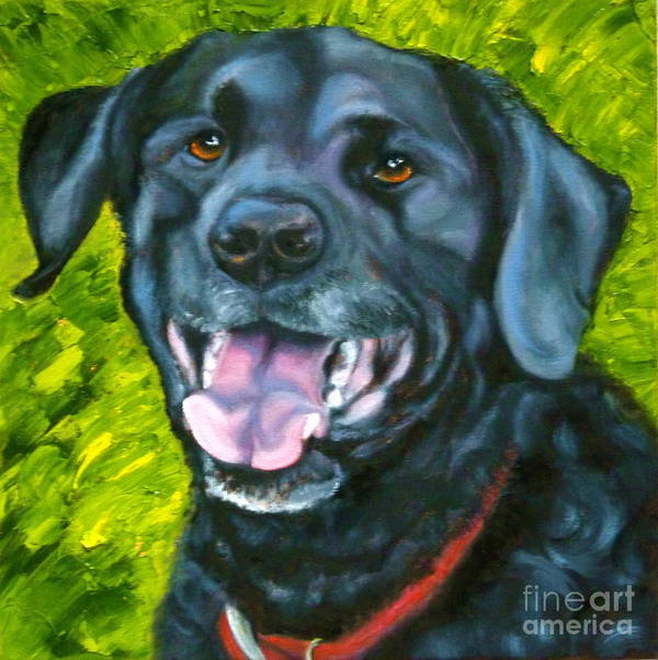 Dog Art Print featuring the painting Smiling Lab by Susan A Becker
