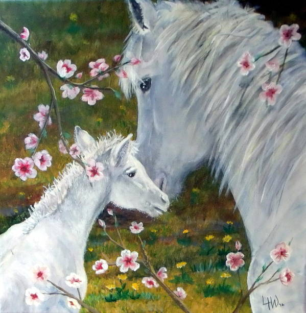 Leslie Art Print featuring the painting Spring Foal by Leslie Hoops-Wallace