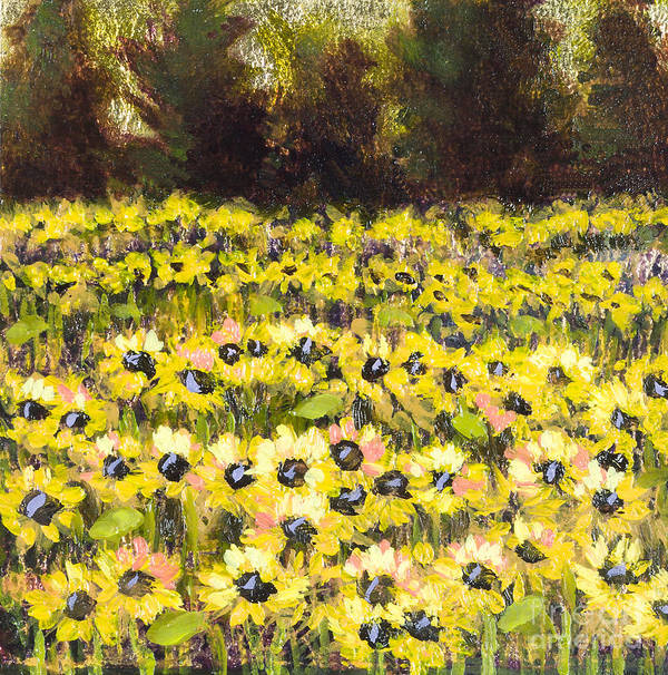 Sunflowers Art Print featuring the painting Sunflower Field Series W Silver Leaf By Vic Mastis by Vic Mastis