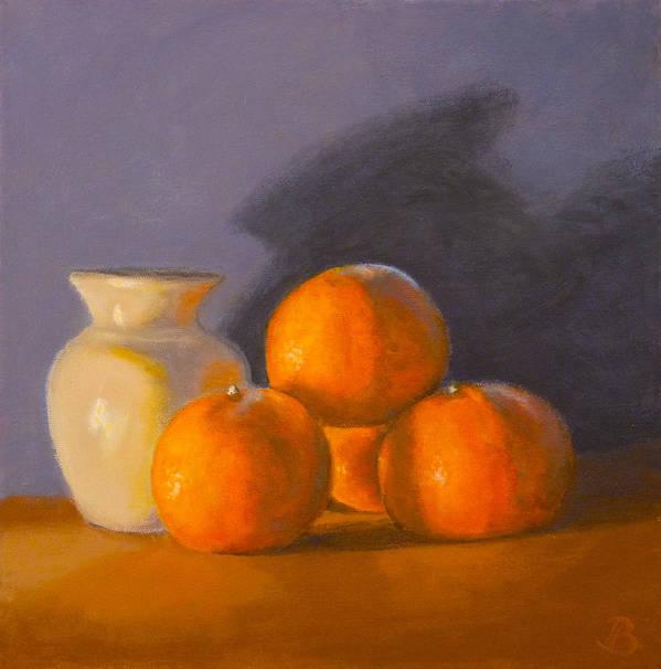 Tangerines Print featuring the painting Tangerines by Joe Bergholm