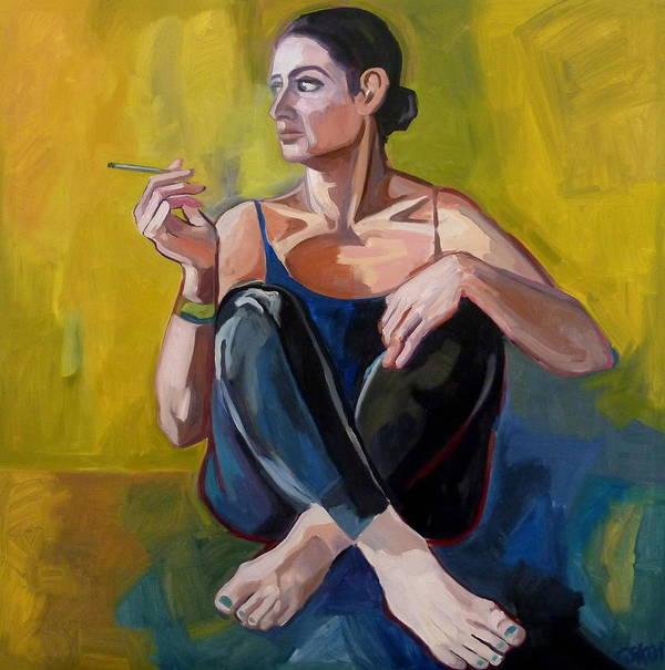Self Portrait Art Print featuring the painting The Break by Carmen Stanescu Kutzelnig