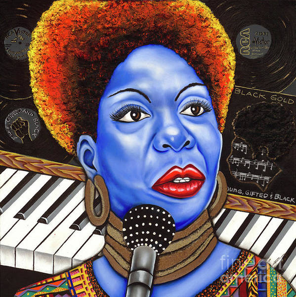 Blue Painting Art Print featuring the painting A Part Of Nina Simone by Nannette Harris