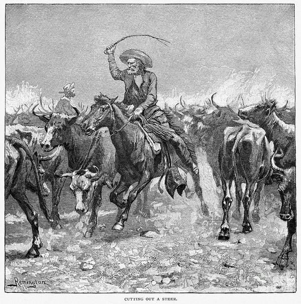 1888 Art Print featuring the photograph Remington: Cowboys, 1888 by Granger