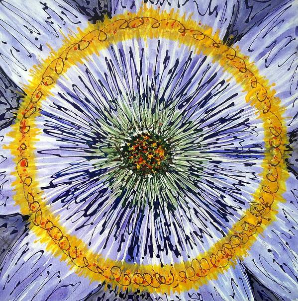 Abstract Art Print featuring the painting Digital Flower Painting by Baljit Chadha