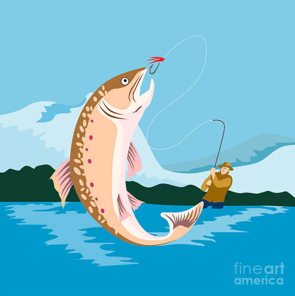 Fly Fisherman Art Print featuring the digital art Fly Fisherman Catching Trout by Aloysius Patrimonio