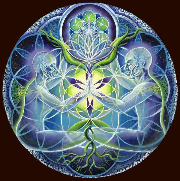 Flower Art Print featuring the painting The Flowering Of Divine Unification by Morgan Mandala Manley