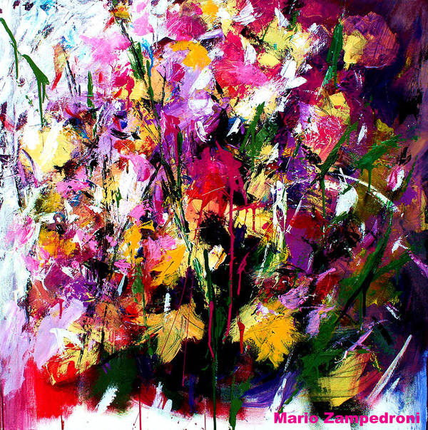 Fucsia Art Print featuring the painting Flowers by Mario Zampedroni