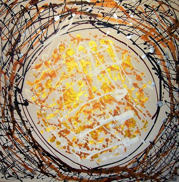 Circle Abstract Art Print featuring the painting The Eternal Circle by Baljit Chadha