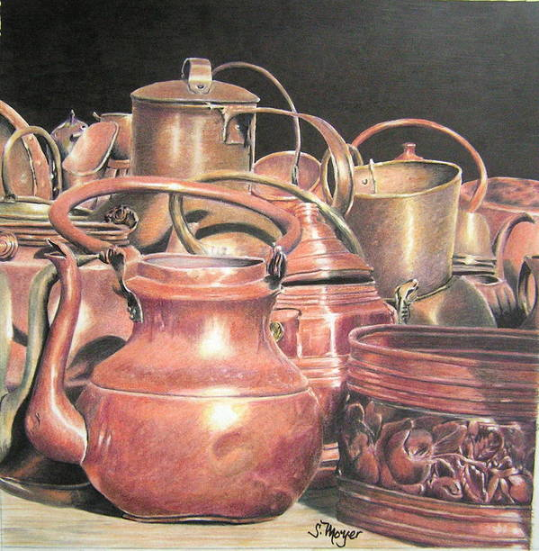 Still Life Art Print featuring the drawing A Plethora Of Pots by Susan Moyer