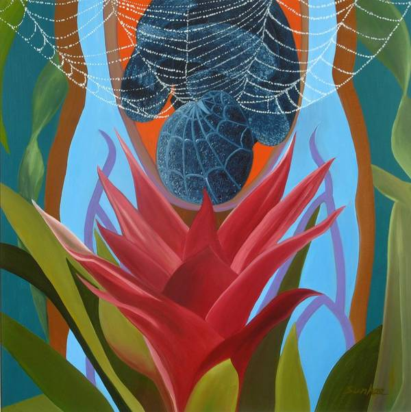 Spider Art Print featuring the painting A Spider Baby by Sunhee Kim Jung