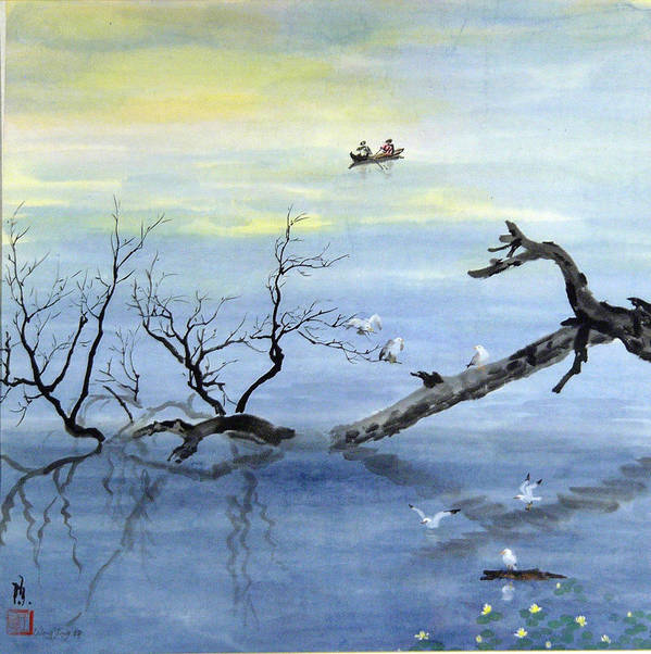 Nature Art Print featuring the painting A Tranquil Lake by Ying Wong