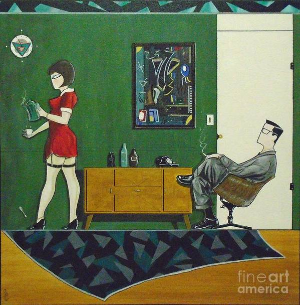 John Lyes Art Print featuring the painting Ad Man Sitting In Chair Steadily Watching Coffee Girl by John Lyes