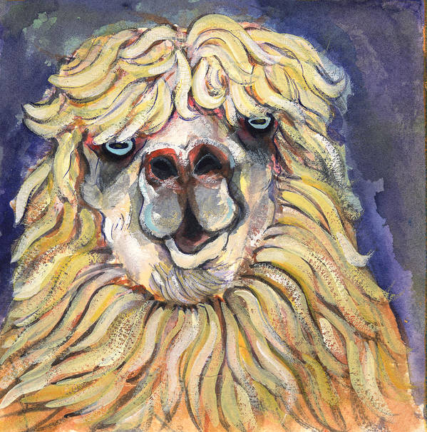 Animals Art Print featuring the painting Alpaca by Michelle Spiziri