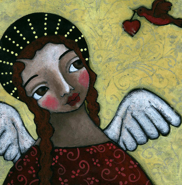 Angel Art Print featuring the painting Angel With Bird Of Peace by Julie-ann Bowden