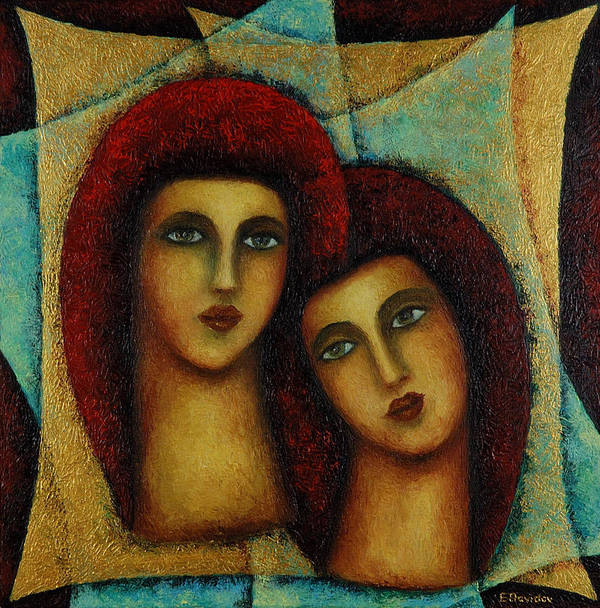 Angels Art Print featuring the painting Angels In Red. by Evgenia Davidov