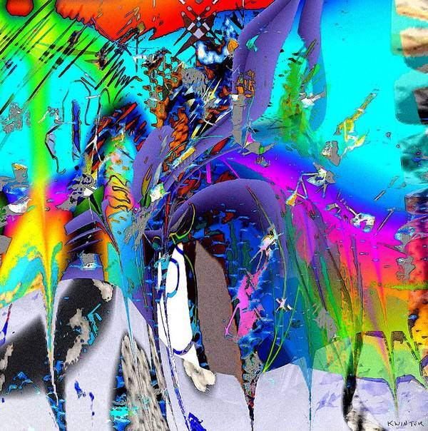 Abstract Red Blue Yellow Purple Art Print featuring the digital art Ants by Dave Kwinter