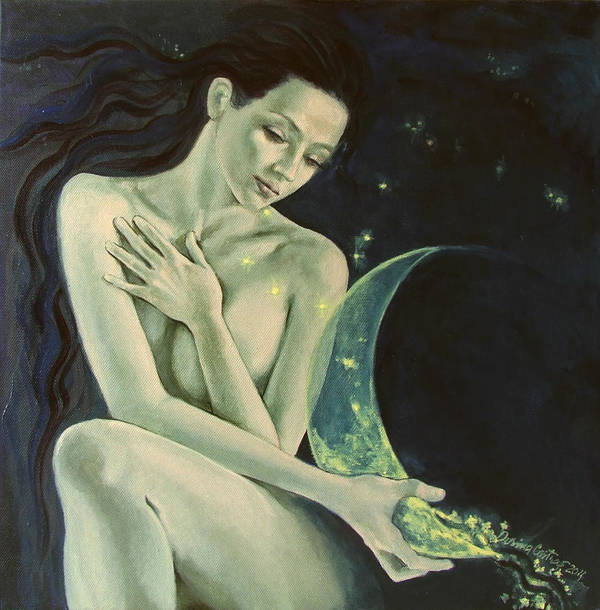 Art Print featuring the painting Aquarius From Zodiac Signs Series by Dorina Costras