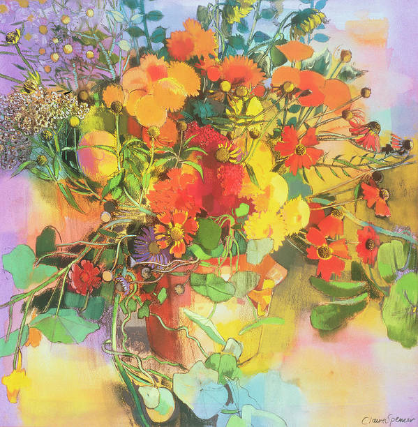 Flower Print featuring the painting Autumn Flowers by Claire Spencer