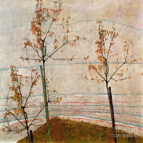 Autumn Trees Art Print featuring the painting Autumn Trees by Egon Schiele