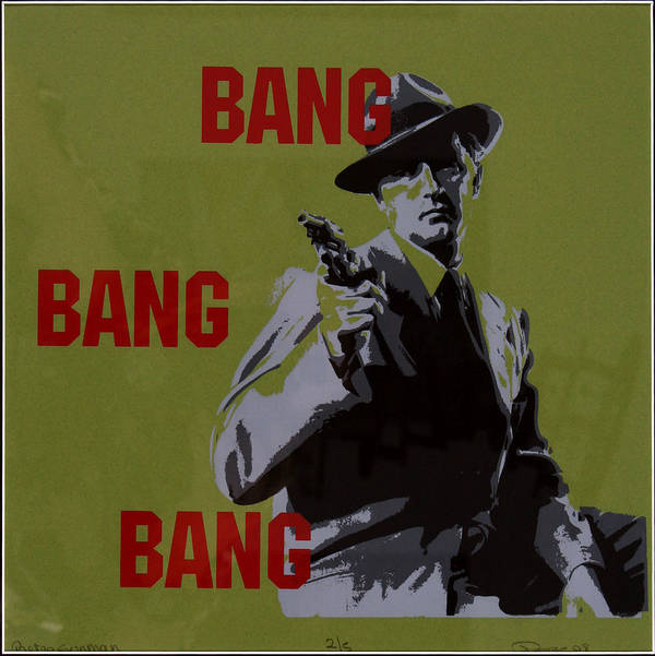 Man Art Print featuring the painting Bang Bang Bang 2 by Robin DeLisle