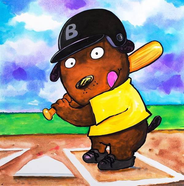 Dog Print featuring the painting Baseball Dog by Scott Nelson